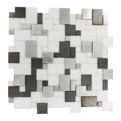 "Breeze Steel Ice Piazza Pattern - sample-BREEZESTEEL ICE PIAZZA PATTERN1/4 SHEET GLASS TILES SAMPLE You are purchasing a 1/4 sheet sample measuring approximately 6"" x 6"". Samples are intended for color comparison purposes, not installation purposes.-Glass Tiles -"