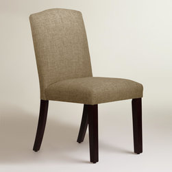 World Market - Linen-Blend Rena Dining Chair - Featuring a low profile arched back, our custom-made dining chair is handcrafted in the U.S.A. of solid pine wood with smooth linen blend upholstery in your choice of Cobblestone and Pumice. Accentuate your dining decor with this on-trend silhouette in your choice of colors, mix with your current chairs, or pair it with a vanity or accent table.