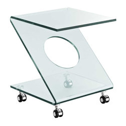 Modway - Z Side Table in Clear - The imaginary collides with the outward beauty of the sleek Rolling Z side table. Sit comfortably as a modern vector force hovers ready for universal expansion. Slide from the realm of possibly to reality with this confident and eye-catching accent piece.