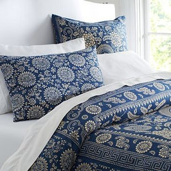 Calista Floral Duvet Cover, King/Cal. King, Blue - Cheerful, stylized flowers bloom within decorative borders for a casual, bandanna-inspired look. Made of a cotton/linen blend. Oeko-Tex certified. Duvet cover and sham reverse to the same design. Duvet cover and sham have a button closure. Duvet cover, sham and insert sold separately. Machine wash. Imported.