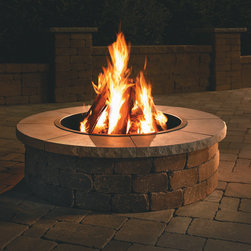 Grand Fire Ring with Cap | Necessories™ ― Outdoor Living Kits - Necessories™ is a collection of ready-to-assemble outdoor fireplaces, waterfalls, bars, tables, fire rings, seat walls and patio kits.