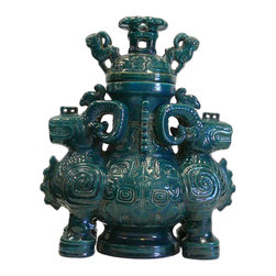 Chinese Ceramic Green Glaze Rams Ceremony Figure - This is a decorative piece with ancient oriental ram shape accent container.