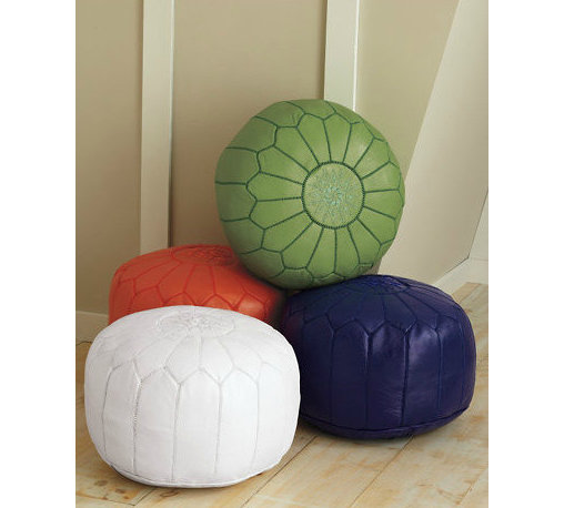 Moroccan Leather Pouf - Poufs may be trendy, but they are so cute and useful. There is no doubt they are here to stay. The classic version is large and leather in natural brown or white. But these days you can get any color under the sun, from hot pink to metallic silver and gold, so go with what you love.