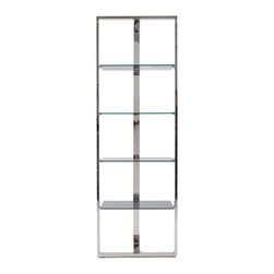 Euro Style - Euro Style Sienna Shelving Glass Panels 38514SS-B/38514GRY-A - Something new in shelving? Yes. This minimalist design has a lot to say. A sturdy box frame in front and a single support in back gives Sienna shelving an airy look of freestanding grace. Whatever you put on it, will be showcased in luxury.