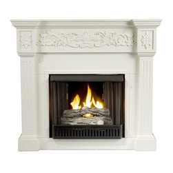 """Holly & Martin - Holly & Martin Huntington Gel Fireplace, Ivory, 44.5""""w X 14.5""""d X 40.25""""h - Crisp is the perfect description for this traditional ivory fireplace. Fluted columns frame the firebox on each side and an elegant floral design across the top of this classic fireplace draws attention. This beautiful mantel is finished off with understated molding that complements the design fabulously. Requiring no electrician or contractor for installation allows instant remodeling without the usual mess or expense. In addition to your living room or bedroom, try moving this fireplace to your dining room for a romantic dinner or complement your media room with a ventless fireplace below your flat screen television. Use this great functional fireplace to make your home a more welcoming environment."""
