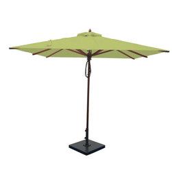 Greencorner - 8'x8' Mahogany Umbrella, Lime Green - 8x8' Square