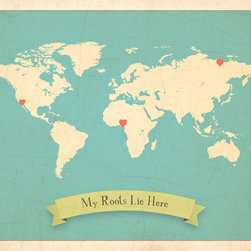 Rebecca Peragine Inc / Children Inspire Design - My Roots Personalized World Map in Blue 24x18 Wall Art Poster - Our new My Roots Collection - delightfully charming maps filled with deep meaning for little ones. Not only is the art beautiful for both big and small, but the collection tells a story of how families come together from all parts of the world. Our art shows a child where family roots lie, a place they are connected to, whether it's ten or ten thousand miles away.  Parent and child can customize their own art by using heart stickers to locate and highlight a child's roots. A teaching moment that will last throughout the years.