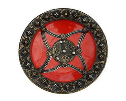 Red Moroccan Bowl with Brass Inlay - Dimensions 10.0ʺW × 10.0ʺD × 2.0ʺH