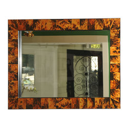 Gold Leaf Handpainted Faux Tortoise Shell Mirror - USA