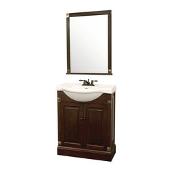 Pegasus - Salerno 22 in. Single Vanity Set - HDV22 - Manufacturer SKU: HDV22. Includes mirror and cabinet. Faucet not included. Euro style design with decorative accents. Grade a solid white vitreous china top with 4 in. faucet drillings. Rear overflow. Wood knobs. Two doors with euro style concealed hinges. 1.63 in. mirror frame thickness. Made from wood and vitreous china. Dark cherry finish. No assembly required. Mirror: 25 in. W x 33 in. H. Vanity: 25.25 in. W x 19 in. D x 35.25 in. H (100 lbs.)
