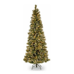 7.5 Ft. Glittery Slim Pine Christmas Tree w/ Cones & 500 Clear Lights - Measures 7.5 feet tall with 44 inch diameter. Pre-lit with 500 UL listed, pre-strung Clear lights. Tip count: 938. Trimmed with white-tipped pine cones. All metal hinged construction (branches are attached to center pole sections). Comes in three sections for quick and easy set-up. Includes sturdy folding metal tree stand. Light string features BULB-LOCK to keep bulbs from falling out. If one bulb burns out the others remain lit. Fire-resistant and non-allergenic. Includes spare bulbs and fuses. 5-year tree warranty / 2-year lights warranty. Packed in reusable storage carton. Assembly instructions included.