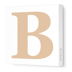 """Avalisa - Letter - Upper Case 'B' Stretched Wall Art, Light Brown, 18"""" x 18"""" - Spell it out loud. These uppercase letters on stretched canvas would look wonderful in a nursery touting your little one's name, but don't stop there; they could work most anywhere in the home you'd like to add some playful text to the walls. Mix and match colors for a truly fun feel or stick to one color for a more uniform look."""