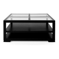 Vanguard - Adventura Square Cocktail Table - Boasting a windowpane-like surface, this coffee table is the modern living room update you've been looking for. It's got a clean profile and inset glass top that adds an exceptionally chic appeal to your space.
