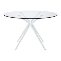 Modway - Modway EEI-1069 Tilt Dining Table in White - Don't trust first impressions when it comes to the elements of decor. Tilt is an expansively designed modern dining table that is surprisingly steady and sure-footed. Topped with an oval-shaped tempered glass top and powder coated aluminum legs, let Tilt take you beyond expectations with a carefree and counter-intuitive look that escapes definition.