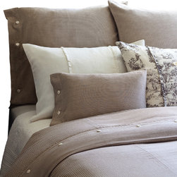 Taylor Linens - Farmhouse Stripe Queen Duvet Cover - Pinstripes never go out of style, and neither will this handsome duvet cover. The sophisticated brown and cream palette coordinates easily with other patterns and colors, while the machine-washable cotton ensures years of easy care. Button closures are a fun finishing touch.