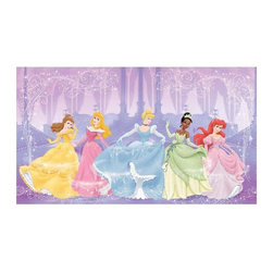 RoomMates Peel & Stick - Perfect Princess Chair Rail Prepasted Mural - Bring the beauty of your favorite Disney Princess characters into any room with this charming XL wall mural. Featuring Cinderella, Ariel, Belle, Aurora, and Tiana, Disney Princess fans of any age will love this elegant piece of wall decor. Your wall will be beautiful in under an hour! Match this mural with any of our Disney Princess wall decals to create a full princess theme..