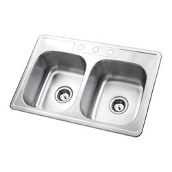 Kingston Brass - Stainless Steel Gourmetier Self Rimming Double Bowl Sink Satin Nickel GKTD332283 - The self-rimming kitchen sink features two square-shaped basins and four drilled holes built in superior quality stainless steel for durability and a long-lasting experience.Manufacturer: Kingston BrassModel: GKTD332283UPC: 663370223334Product Name: Gourmetier GKTD332283 Self Rimming Double Bowl Sink, Satin Nickel Collection / Series: StudioFinish: Stainless SteelTheme: N/AMaterial: Stainless SteelType: Kitchen SinksFeatures: 304 Grade Stainless Steel. resist from chips and scratches