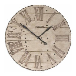 "UTTERMOST - Uttermost Harrington 36"" Wooden Wall Clock - Features one clock for each of three different cities."