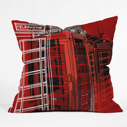 "DENY Designs - Aimee St Hill Phone Box Throw Pillow - Wanna transform a serious room into a fun, inviting space? Looking to complete a room full of solids with a unique print? Need to add a pop of color to your dull, lackluster space? Accomplish all of the above with one simple, yet powerful home accessory we like to call the DENY Throw Pillow! Features: -Pillow. -Aimee St Hill Phone Box collection. -Fabric: Woven polyester. -Closure: Sealed. -Care: Spot treatment with mild detergent. -Manufacturing 6 color dye process custom printed for every order. -Made in the USA.Dimensions: -Small: 26"" H x 26"" W x 7"" D: 4 lbs. -Medium: 20"" H x 20"" W x 6"" D: 4 lbs. -Large: 18"" H x 18"" W x 5"" D: 3 lbs. -Extra Large: 16"" H x 16"" W x 4"" D: 3 lbs."
