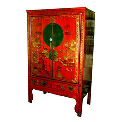 Oriental Antiques Armoire - This exotic Chinese antique armoire is from northern, China and is about 80 years old.It it is also called a wedding chest as it is a traditional wedding gift. We found this Chinese elm wood cabinet in the Chinese country side and had it restored by local craftsmen.  Two large doors with shelf and 2 more drawers behind the two doors, and additional two drawers at the bottom makes a wonderful wardrobe. Refinished with new big brass hardware ,this handsome red lacquer armoire is hand painted in a Chinese landscape design.