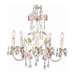 Jubilee Collection - 5 Arm Chandelier - Flower Garden - Ivory, Sage & Pink - Material: metal, glass. 17 x 19 in.