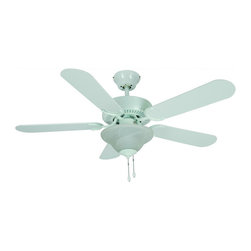 "Builders Collection - White 42"" Ceiling Fan w/ Light Kit - Motor Finish: White"