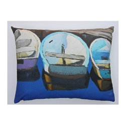 Robin Rowe - Row Boats Accent Pillow - An easy, breezy way to add freshness and color to any room in your home is with Indeed Decor's Row Boats accent pillow.  Adding two or three accent pillows to your sofa or bed is an easy and inexpensive way to transform a room with bright and cheerful spring hues. A selection of Robin Rowe's original paintings are now printed on linen for a new line of designer pillows. The linen pillow back displays a stitched woven damask label of the Roweboat logo. The pillow is a down blend with an invisible zipper for easy cleaning. All pillows are Made in the USA. Each stunning pillow is offered in three sizes.  These pillows make much appreciated gift, if you can bear to part with one.