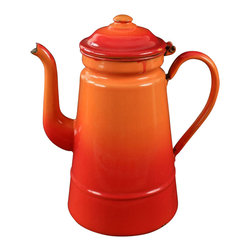 EuroLux Home - Orange Consigned Vintage French Enamel Tea - Product Details