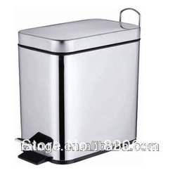Decorative Metal Desktop Unique Trash Can - Sleek and stylish in chrome, this step trash can is both attractive and functional and would be great in the kitchen.