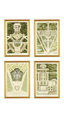 Ballard Designs - Plan De La Villa Art - Fine art reproductions. Matted with gold finish frame. Glass fronts. Our classical renderings of the 19th-century antique originals show elaborate garden plans of romantic Italian estates. Lush shades of grass green, refreshing shades of spa blue and sheaths of gold create a classic landscape palette. Hang together on a large expanse of wall for the greatest impact. Plan De La Villa Art features: . . .