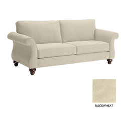 Apt2B - Ryandale Sofa, Buckwheat - The Ryandale Collection will look great in both the suburban home or urban apartment. Espresso finished wooden legs and striking rolled arms make this sofa a top contender.