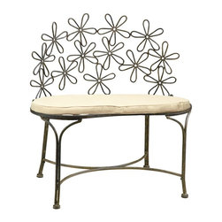 Deer Park Ironworks - Deer Park Ironworks Daisy Bench - BE206 - Shop for Benches from Hayneedle.com! Brighten up any patio porch or garden path with the charming Deer Park Ironworks Daisy Bench. This bench is ideal for indoor or outdoor use and is made of heavy gauge steel and powder coated for all-weather durability. Protective rubber feet prevent marring while a cute daisy pattern seat-back adds a springtime cheer to any space.About Deer Park Ironworks LLCYou'll immediately recognize a yard that's been appointed with pieces from Deer Park thanks to the classic wrought iron designs and traditional finish that has made them an power player in the outdoor furniture industry. Dedicated to creating value for their customers with durable quality pieces of functional and ornamental wrought iron Deer Park continues to provide timeless designs while never sacrificing customer service and satisfaction as their pursue their corporate goals.