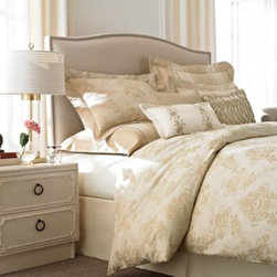 Wamsutta - Wamsutta French Country 4-Piece Comforter Set - The French Country comforter set was inspired by vintage linens with an heirloom appeal. A gold floral pattern is featured on a yarn-dyed cotton jacquard fabric for a richly colored and softly textured presentation that has time-honored elegance.