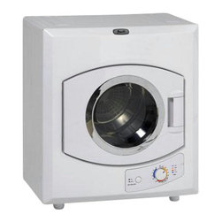"Avanti - Automatic Cloth Dryer - Avanti Auto Clothes Dryer with moisture sensor & control. 115 volt. Electric Dryer in White. Lightweight for easy portability, Stainless Steel drum, multiple time/temperature settings (high/low heat, Air Dry, Anti-wrinkle), see-thru window, multiple installation options, 9 lbs. drying capacity, 23.5""W x 27.5""H x 17.5"" D, 44 lbs."