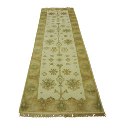 """Manhattan Rugs - New Beautiful Ivory 2' 5"""" x 8' Hand Knotted Wool Oushak Runner Veg Dyed H3213 - This is a true hand knotted oriental rug. it is not hand tufted with backing, not hooked or machine made. our entire inventory is made of hand knotted rugs. (all we do is hand knotted)"""