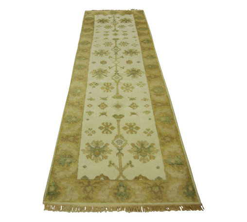 "Manhattan Rugs - New Beautiful Ivory 2' 5"" x 8' Hand Knotted Wool Oushak Runner Veg Dyed H3213 - This is a true hand knotted oriental rug. it is not hand tufted with backing, not hooked or machine made. our entire inventory is made of hand knotted rugs. (all we do is hand knotted)"
