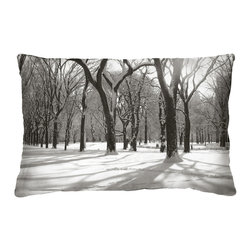 Tempo Luxury Home - Forest For The Trees Pillow from the Winter Park Collection by Joe Ginsberg - Ice-capped trees create a fantastic canopy along a frozen pathway. A breathtaking glimpse of winter in NYC. Use this decorative pillow for an enchanting focal point anywhere in your home. Glacial Palace is printed on raw silk taffeta; velvet-textured, shimmering metallic backing in Twilight. Fill: 75% goose down; 25% feather. Each pillow from the Winter Park Collection is made to order and has an approximate lead-time of three weeks.