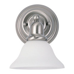 Sea Gull Lighting - Sea Gull Lighting-44060-962-Single-light Sussex Wall/bath - Single Light Decorative Bath Bracket Finished in Brushed Nickel with Satin White Glass Shade. Yesterday's styling.