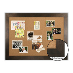 "Corkboard - 44"" x 32"" Framed Cork Board, Chelsea Expresso - Dimensions include frame."