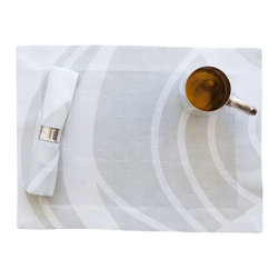 Huddleson Linens - Silver Swirl Linen Placemat (Set of Four) - For special occasions — or to make your everyday extraordinary — set out these simply stylish placemats. A swirling silver and white design in 100 percent Italian linen adds an elegant touch to any meal.