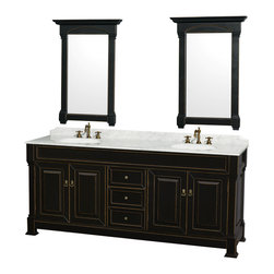 Wyndham Collection - Andover Bathroom Vanity in Antique Black, White  Carrera Top,UM Sinks, Mirrors - A new edition to the Wyndham Collection, the beautiful Andover bathroom vanity series represents an updated take on traditional styling. The Andover is a keystone piece, with strong, classic lines and an attention to detail. The vanity and solid marble countertop are hand carved and stained. Available in Black, White and Dark Cherry finishes to match any decor. Available in a range of single or double vanity sizes to fit any bathroom.