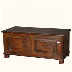 """Rustic Mission Reclaimed Wood Standing Coffee Table Chest - Maximize your space with style. Our traditional Mission Coffee Table Chest stands off the ground on short, square feet. The multi-use storage box is 50"""" long and 23"""" deep."""