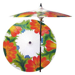 "Oriental-Décor - Far East Garden (Beijing White) - This beautiful and vibrant patio umbrella features a grove of wild flowers, suggesting prosperity and plenty. Place this astounding work of art in any outdoor setting for a fabulous decorative effect.  - 7 foot umbrella pole constructed of rich stained oak hardwood.  - Each umbrella is entirely handcrafted down to the finest detail.  - Oil-treated cotton umbrella shades are all hand-painted by our master artists.  - Dual position shade height allows for full coverage or a better view of the painted shade.  - Waterproof and weatherproof.  - Two-piece pole fastens securely with a polished metal coupling.  - Pole diameter of 1.5"" easily fits into any standard size umbrella base or table.  - Optional umbrella base available - handcrafted from stained oak hardwood."