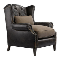 Professor's Leather Reading Chair - Traditional chair with new age touch style. Glove leather and 100% brown linen provides a harmonious pairing in this stunning chair. Reading Chair is scaled for the salon, sitting room or bedroom.