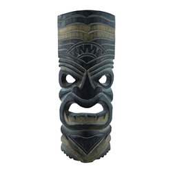 Dark Green and Gold Grimacing Tiki Mask 11 In. - This dark green tiki mask is hand crafted from wood and features gold accents and a menacing grimace. It measures approximately 11 inches tall, 4 1/2 inches wide, and has a hanger on the back. This mask looks great in your home or on your porch or patio, and it is a must-have for any tiki bar. It also makes a great gift for friends and family. NOTE: Since these masks are hand carved and hand painted, there may be slight color or facial differences from the pictures.