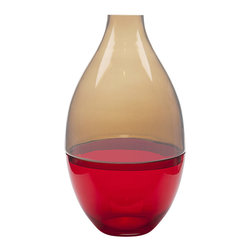 Dynasty Gallery - 2-Piece Amber-Red Handmade Glass Vase - Oversized and built to command attention, this two-piece glass vase is a truly exquisite addition to your home. Hand blown in Poland, the unique construction is a practical consideration for cleaning and filling the vase. Given its stunning presence, this vessel is breathtaking as stand-alone art.