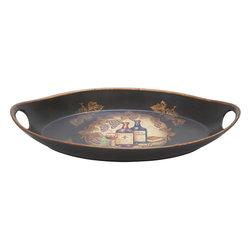 Benzara - Ceramic Platter 17in.W, 3in.H Unique Home Accents - Size: 17 Wide x 10 Depth x 3 High (Inches)