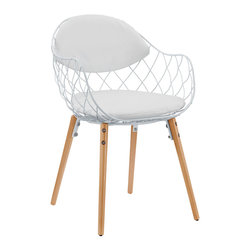 LexMod - Basket Dining Metal Armchair in White White - There comes a time when a person just needs a basket to sit in. Basket conveys that open-wire effect to perfection with a minimalist chair that is maximal on style. Suitable for indoor or outdoor use, Basket is made with a powder coated white metal frame and soft vinyl cushion and backrest that provides surprising comfort. Perfect for patios, backyards, kitchens or dining areas, Basket comes fully assembled and is as contemporary as it gets.