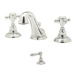 Rohl - Rohl Viaggio C Spout Widespread Bathroom Faucet in Polished Chrome - The Picture shows cross handles on the faucet but the one we are selling will have lever handles