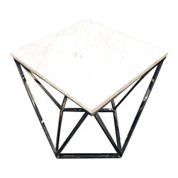 Nuevo Living - Jasmine End Table - If you love the luxury of marble and the clean lines of modern design, bring this end table home. Its artfully angular stainless steel frame is the ideal foil for a sleek slab top.